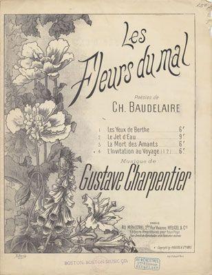 """Couverture du receuil de 126 poèmes : """"Les Fleurs du mal"""" de Beaudelaire"""